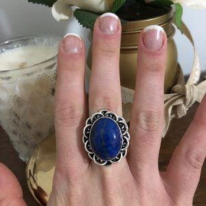 Large Silver Vintage Lapis blue stone